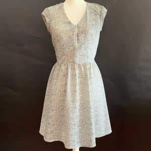 H&M Black & Off White Cap Sleeve A-Line Dress